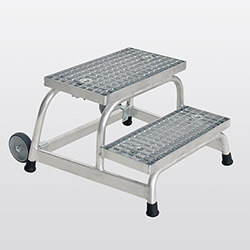 Aluminium plateautrap, staalrooster treden 51018