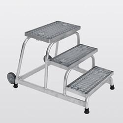 Aluminium plateautrap, staalrooster treden 51019