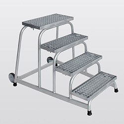Aluminium plateautrap, staalrooster treden 51020
