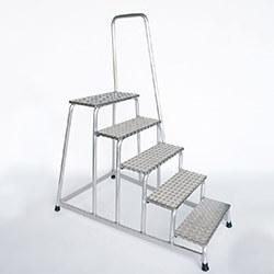 Aluminium plateautrap, traanplaat treden met leuning 50045