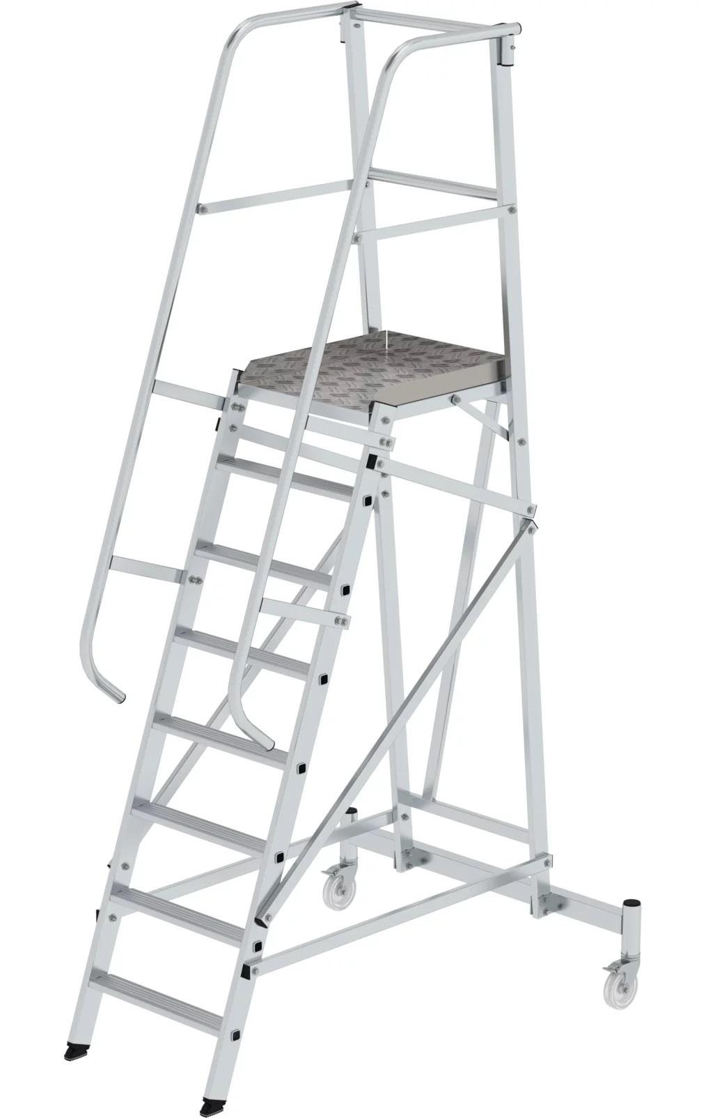 Aluminium platformtrap, verrijdbaar, 1x8, 52508