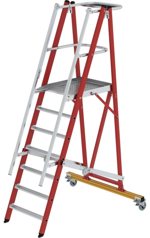 Kunststof platformtrap, verrijdbaar en klapbaar, 1x7, 36307