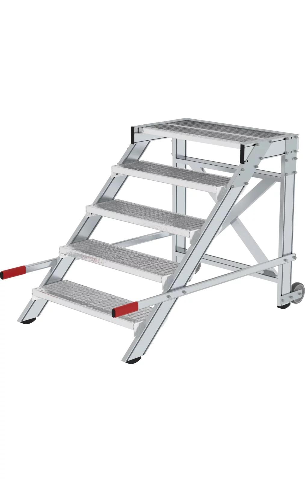 Aluminium plateautrap, staalrooster treden, verrijdbaar