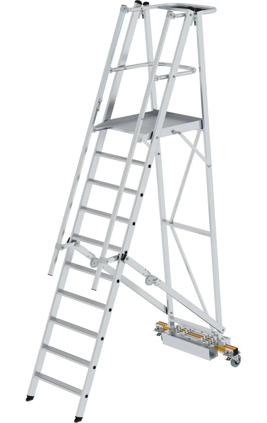 Aluminium platformtrap, klapbaar met smalle stabilisatiebalk