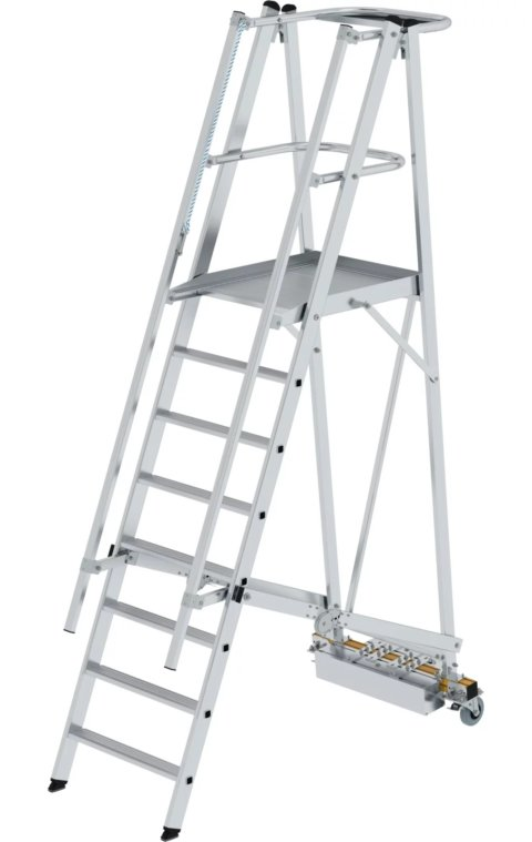 Platformtrap, smalle stabilisatiebalk, verrijdbaar en klapbaar, 1x8, 52708
