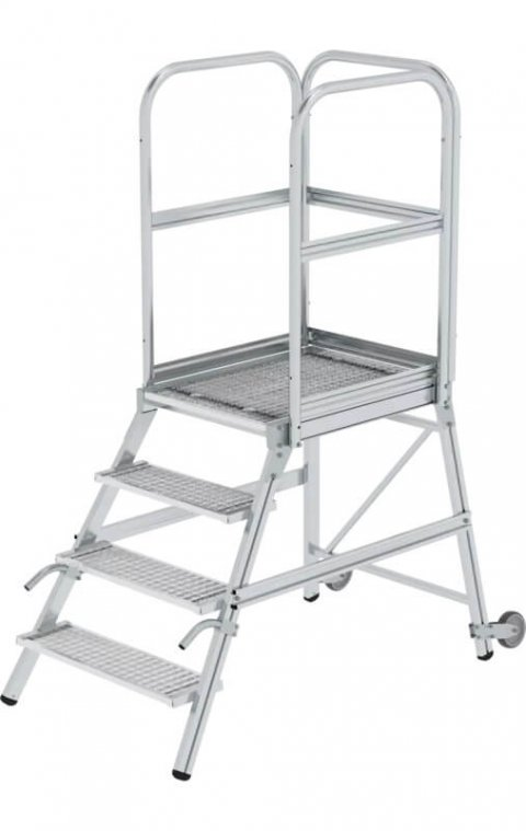 Bordestrap staalverzinkte treden, enkelzijdig, handgreep en bokwiel, 1x4, 58104