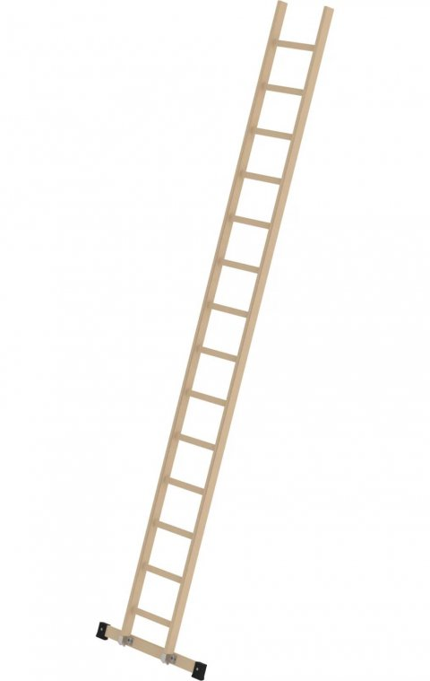 Houten enkele ladder, met stabilisatiebalk, 1x14, 33116