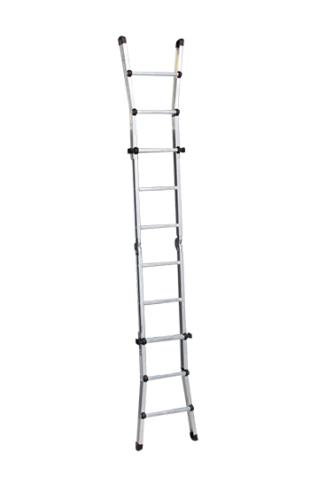 Telescoopladder, volledig uitgeklapt als enkele ladder